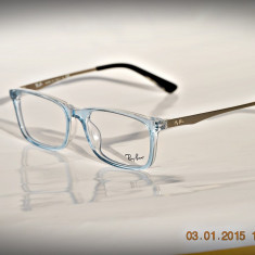 Rama ochelari Ray Ban, Unisex, Transparent, Dreptunghiulare, Plastic, Rama intreaga - Rama de ochelari de vedere Ray ban RB5312 5810 bleu transparent