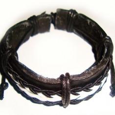 Bratara piele - Bratara din piele neagra decor snur negru impletit BI008