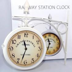 Ceasuri de perete - Ceas dublu de pererete - cu doua fete - New york Railroad - vintage - alb/negru