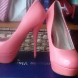 Pantofi dama, Marime: 36, Piele sintetica, Corai - Pantofi corai cu toc inalt si platforma!!!