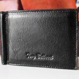 Portofel Barbati, Negru, Mini-portofel - Tony Bellucci Portofel Piele Naturala Bancnote Clema Metalica Port Carduri