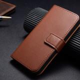 Husa piele Samsung Galaxy S5,  tip portofel,maro mat + CADOU Folie ecran