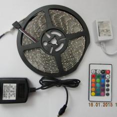 Iluminat decorativ - BANDA LED RGB 3528 (impermeabila), 300 LED/5 M + TELECOMANDA + ALIMENTATOR
