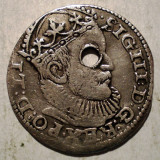 Moneda Medievala, Europa, An: 1589 - D.116 LETONIA RIGA SIGISMUND III VASA TRIPLUGROS 3 GROSZY 1589 ARGINT 2, 3g gaurit