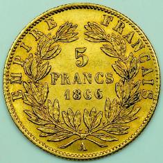 Monede Straine - Ticuzz - Franta 1866 A 5 Franci - Moneda de AUR - Napoleon III - Superba