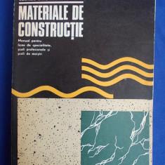 Carti Constructii - NICOLAE NICOLESCU - MATERIALE DE CONSTRUCTII * MANUAL LICEE SPECIALITATE, SCOLI PROFESIONALE SI SCOLI DE MAISTRI - BUCURESTI - 1973