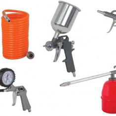 089913-Set 5 accesorii pentru compresor( manometru, pistol, furtun...) Raider