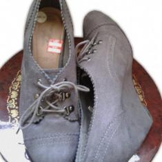 Botine dama, Piele intoarsa - Ghete/Botine/Pantofi platforme gri