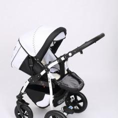 Carucior copii 2 in 1 - Carucior 2 in 1 Q9 Baby Merc Color 11 (Alb cu Negru si Bulinute) Baby-Merc