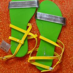 Sandale dama - SANDALE DE VARA FARA TOC AURIU VERDE FOARTE COMODE MUST HAVE MARIME 38