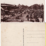 Bucuresti - Halele Centrale. Tramvai. Animatie - Carte Postala Muntenia 1904-1918, Circulata, Printata