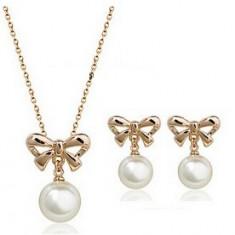 Set bijuterii -Perla- placat aur 18 k + CUTIUTA - Set bijuterii placate cu aur Energie