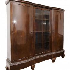 Dulap cu vitrina, stil, masiv, geam din cristal, sculptat manual - Mobilier