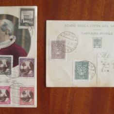 Carte Postala, Ambele, Printata, Europa - Lot 2 CARTI POSTALE VECHI VATICAN (cu 18 timbre POSTA VATICANULUI, 1944-1945)