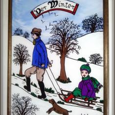 Pictura pe sticla - peisaj Iarna - Germania - Pictor strain, An: 1990, Peisaje, Ulei, Realism