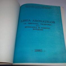 Carte Epoca de aur - Lista abonatilor la serviciul telefonic din municipiul si judetul Botosani 1985