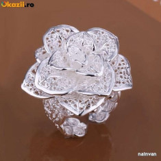 Inel superb argint 925, forma florala; marime reglabila - Inel argint