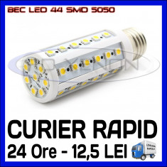 Bec/neon ZDM, Becuri economice, 20 - 50, > 10000, Interior - BEC LED E14, E27 - 44 SMD 5050 - ECHIVALENT 50W - ALB CALD, ALB RECE - 220V
