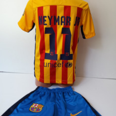 Set echipament fotbal - Echipamente sportive copii FC.Barcelona Neymar Jr compleu fotbal marimea 176
