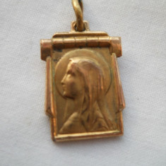 Finut si Vechi Medalion Pandativ Fecioara Maria placat cu aur Marcat Delicat