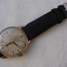 Ceas de mana marca CAUNY CENTENARIO 23 RUBIS, placat cu aur