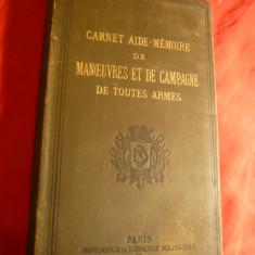 E.C. Servo -Aide Memoire -Manevre Campanie-uzul dif. arme -Ed.1880, in lb. fr.