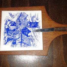 Dog de bucătărie vitange cu cutit solingen, lemn si ceramica 2+1 GRATIS