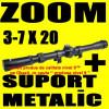 LUNETA METALICA cu ZOOM 3-7X20 pentru Arma Pusca Airsoft cu Aer Comprimat Tir