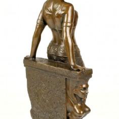 Sculptura, Nuduri, Bronz, Europa - DANSATOARE DIN BURIC- STATUETA DIN BRONZ PE SOCLU DIN MARMURA