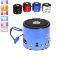Boxe Telefon - MINI BOXA Portabila cu Mp3 player, Radio FM, stick USB, card microSD. Metal.