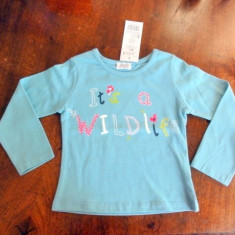 Haine Copii 1 - 3 ani, Bluze, Fete - Nou! Tricou albastru wildlife, marca FF baby, fetite 12-18 luni/ 86 cm