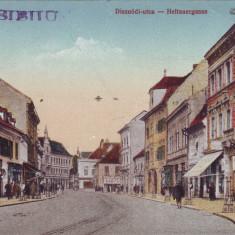 Romania, Nagyszeben, Sibiu carte postala necirculata 1917: Str. Disznodi, animat, Fotografie