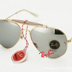 Ochelari de soare Ray Ban RayBan 3029 UV FULL BOX Lentila Green/Mirror/Black, Unisex, Negru, Pilot, Metal, Protectie UV 100%