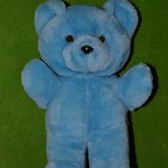 Ursulet de plus - Jucarie plus urs ursulet albastru 30cm ochi de sticla expresivi,