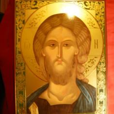Icoana cu foita de aur - Icoana aurita Grecia - Iisus Christos, dim. = 18, 2 x 25 cm