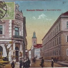 Romania, Satu Mare, carte postala circulata 1915 TCV:Str.Kazinczy, magazin evreiesc - Carte Postala Maramures 1904-1918, Fotografie