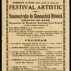 1934 Afis reclama Casa Femeii festival artistic, gimnastica ritmica teatru opera