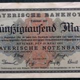 Bancnota Straine, Europa, An: 1923 - P1 GERMANIA Bavaria 50000 50.000 Mark 1923 Munchen sr 155508 Bayerische XF AUNC