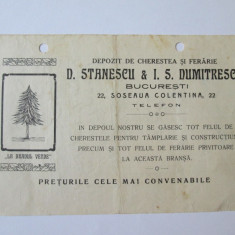 RECLAMA TIPARITA DEPOZIT DE CHERESTEA SI FIERARIE D.STANESCU SOS.COLENTINA 1915