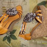 sandale platforma piele