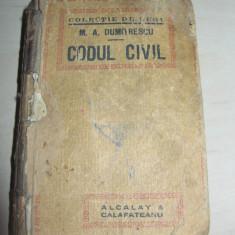 Carte Drept civil - M.A.DUMITRESCU -CODUL CIVIL din 1865 cu modificarile 1906