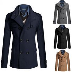 Blazer palton barbatesc model gen Zara. 4 Culori diferite - Palton barbati, Marime: S, M, L, Culoare: Albastru, Camel, Gri, Negru