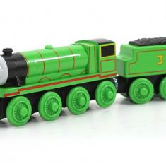 Trenulet de jucarie Fisher Price, 4-6 ani, Lemn, Unisex - Locomotiva Henry, colectia Thomas si prietenii sai, Fisher Price