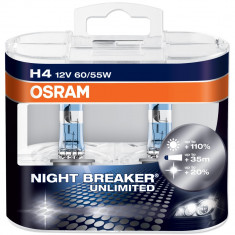 Becuri auto - Becuri H4 far halogen Osram Night Breaker Unlimited, 12V, 60/55W, set de 2 buc
