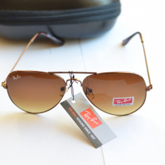 Ochelari de soare Ray Ban Aviator, Unisex, Maro, Pilot, Protectie UV 100%