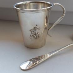 Set pahar, cana si lingurita din argint masiv Bambi-Spania!EXPERTIZA OFICIALA!, Cesti