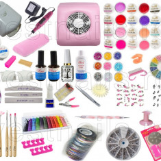 KIT Unghii false BeautyUkCosmetics cu gel MANICHIURA LAMPA UV, ASPIRATOR PRAF, PILA ELECTRICA