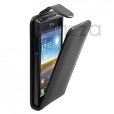 Husa LG L7 P700 Optimus Flip piele neagra ECO, LG Optimus L7, Negru, Piele Ecologica, Cu clapeta