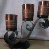 SFESNIC, CANDELA METALIC CU 3 LUMINI - Metal/Fonta