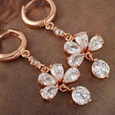 Cercei deosebiti aur filat 9k cu cristale zirconiu - Cercei aur, Galben